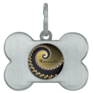Fractal. Gold, silver, black. Pet Name Tag