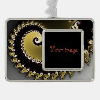 Fractal. Gold, silver, black. Silver Plated Framed Ornament