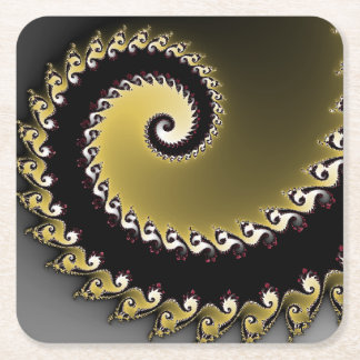 Fractal. Gold, silver, black.silver Square Paper Coaster