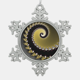 Fractal. Gold, silver, black. Snowflake Pewter Christmas Ornament