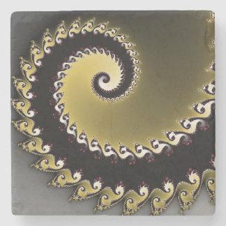 Fractal. Gold, silver, black. Stone Coaster