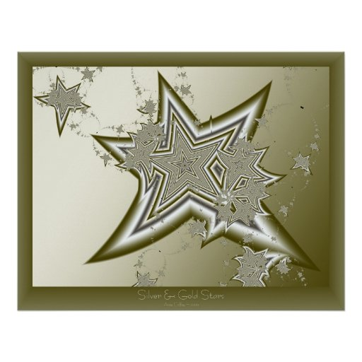 Fractal Gold Stars Poster