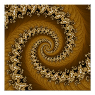 Fractal Golden Double Spiral Poster