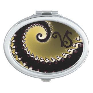 Fractal. Golden, silver, black. Add monogram. Vanity Mirror