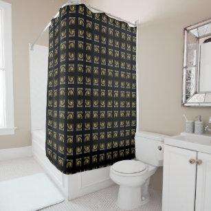Golden Silver Black Shower Curtain