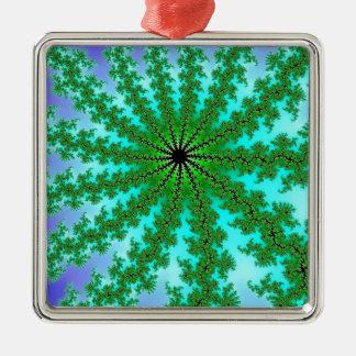 Fractal Green Color Christmas Ornaments