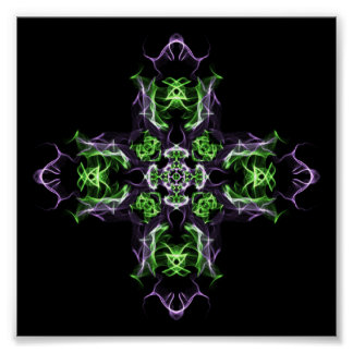 Fractal Green & Purple Cross Private Contemplation Poster