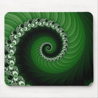 Fractal Green Spiral Mousepad