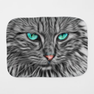 Fractal grey cat illustration baby baby burp cloth