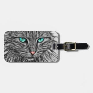 Fractal grey cat illustration bag tag