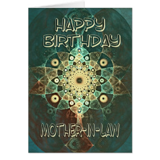 Fractal grunge birthday card for a  Mother-in-Law