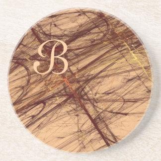 Fractal Grunge Series-1---Brown coaster--1 of Beverage Coaster