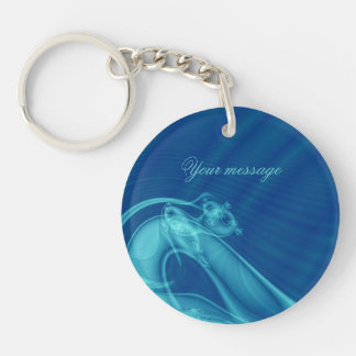"""Fractal """"Guardian Angel"""" Keychain round-two sides"""