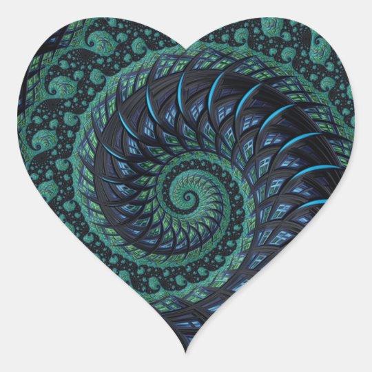 Fractal Heart in Blues & Greens Heart Sticker