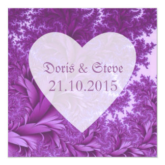 Fractal- Heart Shape,purple 13 Cm X 13 Cm Square Invitation Card