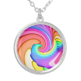 Fractal Ice Cream Swirl Silver Plated Necklace