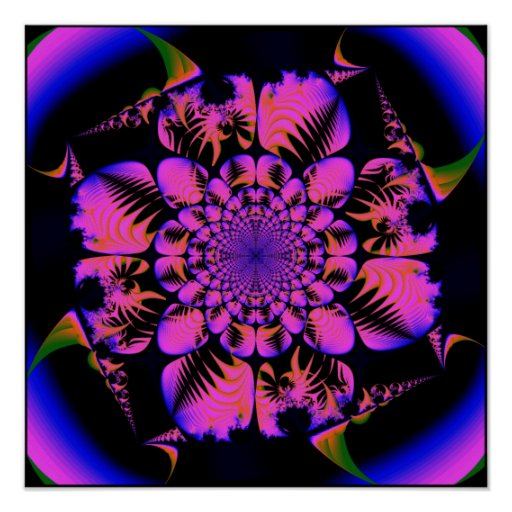 fractal in blacklight style  print