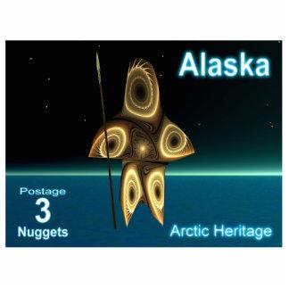 Fractal Inuit Hunter - Alaska Postage Photo Sculpture Magnet