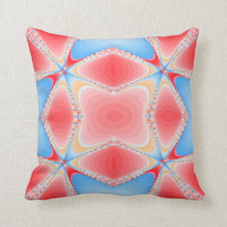 Fractal Kaleidoscope in Red & Blue #2 Cushion