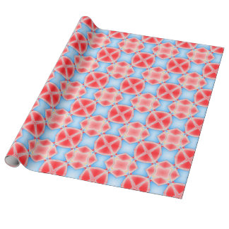 Fractal Kaleidoscope in Red & Blue Wrapping Paper