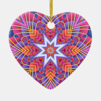 Fractal  Kaleidoscope Muted Pastels Heart Christmas Ornament