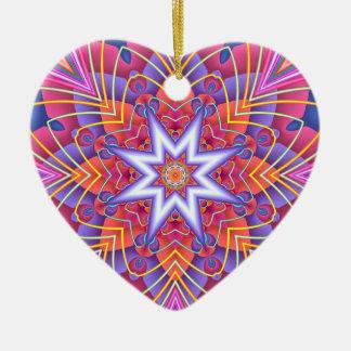 Fractal  Kaleidoscope Muted Pastels Heart Christmas Ornament