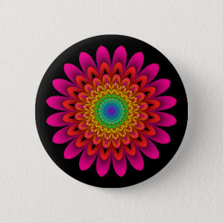 Fractal Kaleidoscope Rainbow Dahlia 6 Cm Round Badge