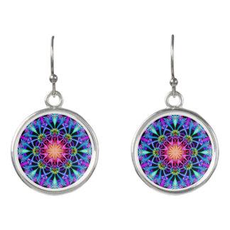 Fractal Kaleidoscope Rainbow Florets Earrings