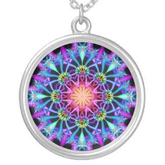 Fractal Kaleidoscope Rainbow Florets Silver Plated Necklace