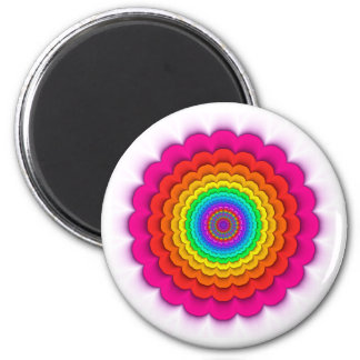 Fractal Kaleidoscope Rainbow Fridge Magnet