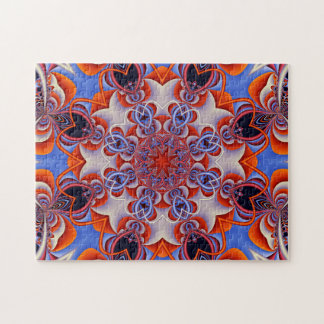 Fractal Kaleidoscope Red and Blue Jigsaw Puzzle