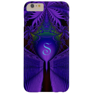 Fractal Lace and Shield Blue and Purple Monogram Barely There iPhone 6 Plus Case