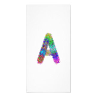 Fractal letter A monogram Personalised Photo Card