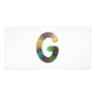 Fractal letter G monogram Customised Photo Card