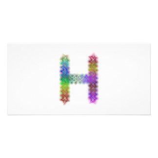 Fractal letter H monogram Customised Photo Card