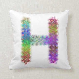 Fractal letter H monogram Throw Pillow