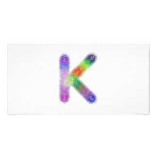 Fractal letter K monogram Personalized Photo Card