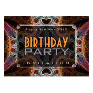 Fractal Love Hearts Birthday Mini Invitations Business Cards