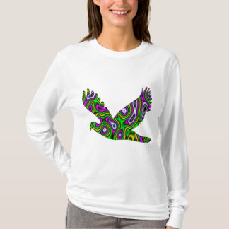 Fractal Maze Yellow Green Magenta Dove T-Shirt