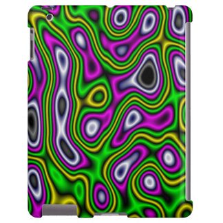 Fractal Maze Yellow Green Magenta iPad Case