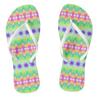 Fractal Mosaic Pattern Flip Flops