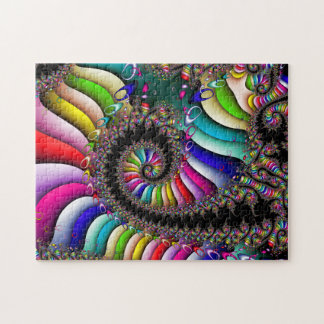 Fractal Multicolor Spiral Jigsaw Puzzle