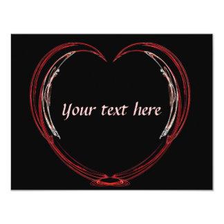 Fractal Open Heart Valentine 4.25x5.5 Paper Invitation Card