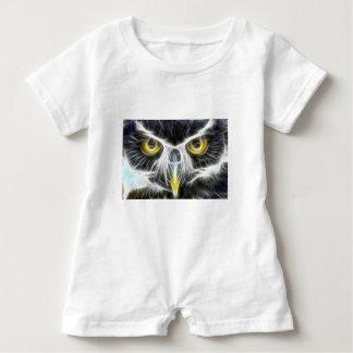 fractal owl design baby bodysuit