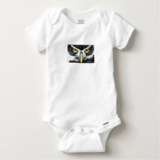 fractal owl design baby onesie