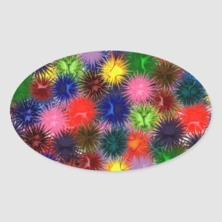 Fractal Paintballs Oval Sticker