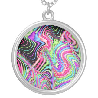 Fractal Pastel Swirls Silver Plated Necklace