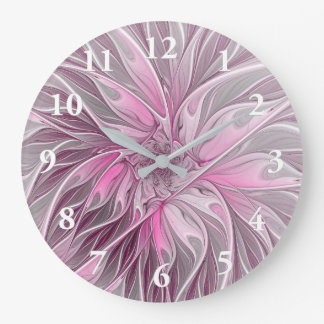 Fractal Pink Flower Dream, floral Fantasy Pattern Large Clock