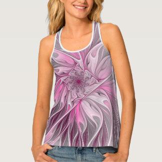 Fractal Pink Flower Dream, floral Fantasy Pattern Tank Top