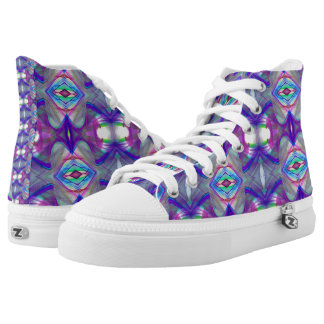 Fractal purple pattern high tops